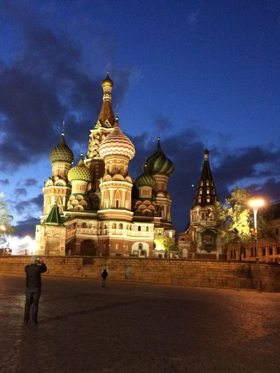 Night Basil Moscow St. Basil's Cathedral Spirituality Religion Place Of Worship Architecture Built Structure Sky Building Exterior Travel Destinations Cloud - Sky