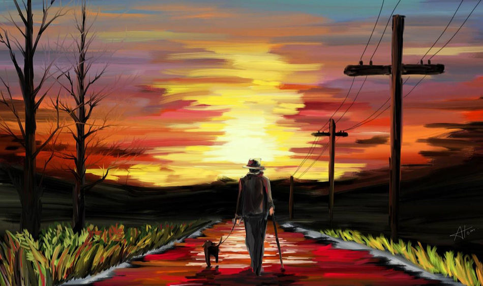 a man and his dog, walking to the sunset Digital Art Digital Paint Digital Painting Dog High Contrast Men Nature Outdoors Sky Sunset Walk