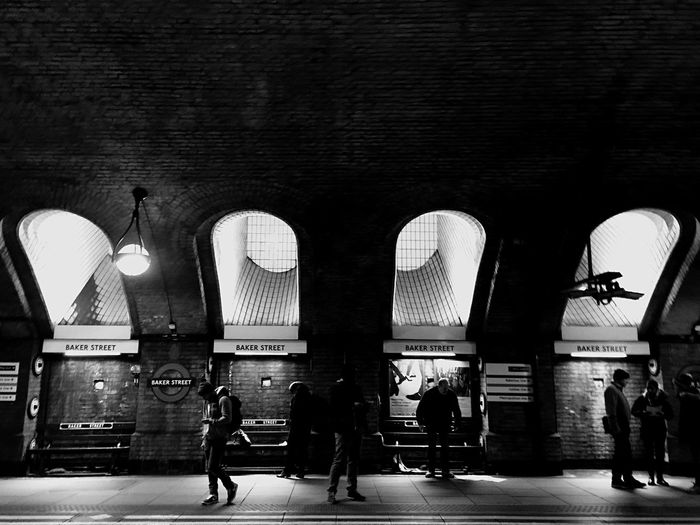 Real People Travel Destinations Architecture Arch Tourism Lifestyles Travel Tourist Built Structure Indoors  Transportation Telling Stories Differently EloEmenike Women Men Illuminated Day People Bakerstreet Baker Street Station Black And White London Underground London