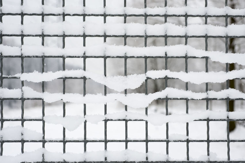 Fence With Snow Backgrounds Close-up Cold Cold Temperature Day Fence Focus On Foreground Frozen Full Frame Grid Nature No People Outdoors Pattern Simplicity Snow Tranquility Weather White White Color Winter