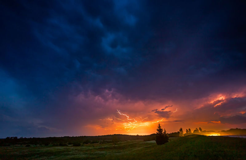 Scenic view of dramatic sky over land during sunset