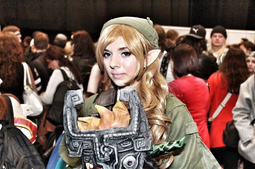 Casual Clothing Composition Confidence  Cosplay Cosplayer Fashion Friendship Front View Happiness Holding Leisure Activity Lifestyles Looking At Camera Person Perspective Portrait Real People Sitting Standing Waist Up Young Adult Young Women Zelda