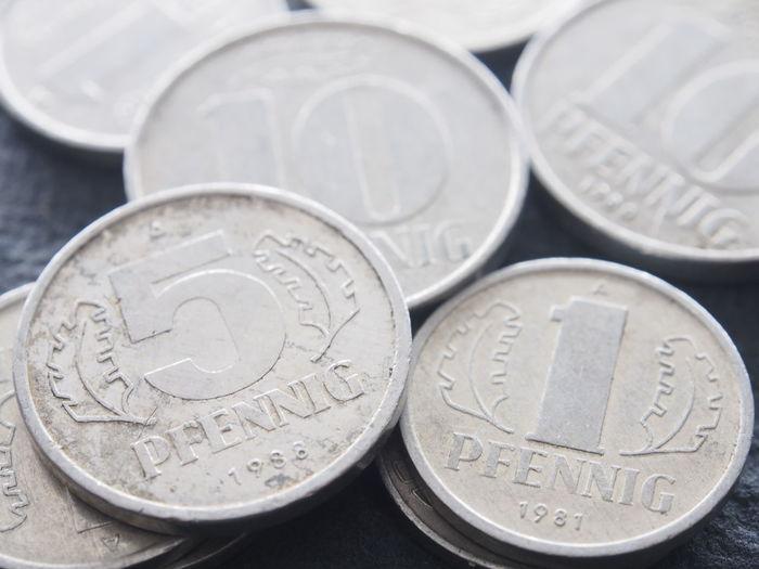 Close-up of pfennig coins