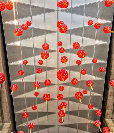 Pattern Pieces | Gong xi fa cai! - the ceiling decors on our office for Chinese New Year 👲🏻 - at Makati City Philippines Patterns Lantern Red Chinese Chinese New Year Ceiling Decorations Minimalist