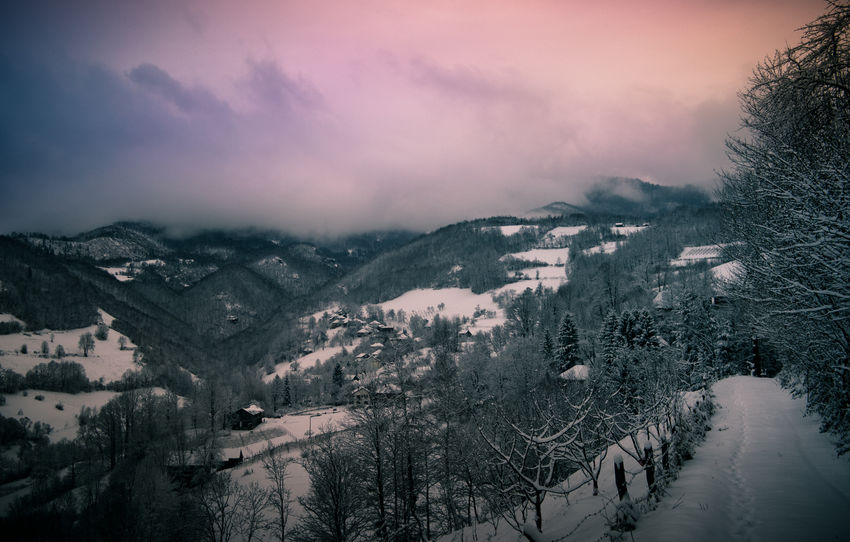 Dramatic Sky Nature Mountain Landscape Beauty Winter No People Scenics Outdoors Day Trees Road Colorful Snow Fojnica Bosnia And Herzegovina Forest Mist Clouds Sunset Colors