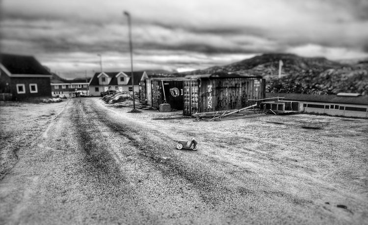 Blackandwhite Black & White Blackandwhite Photography No People Outdoors Black And White Dark Kids Bike Rural Scene Road Street Abandonment Greenland Arctic
