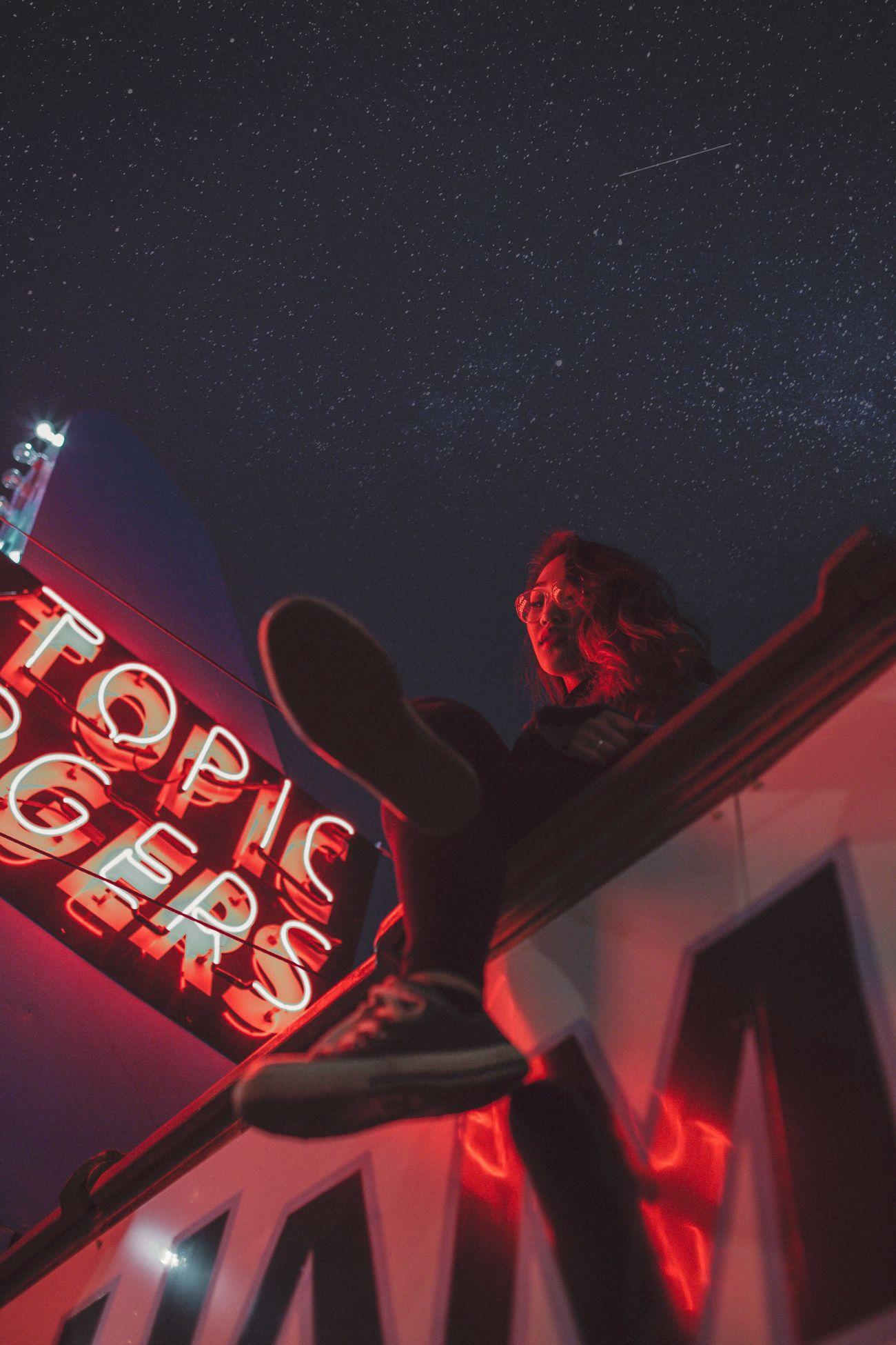 night, low angle view, communication, illuminated, real people