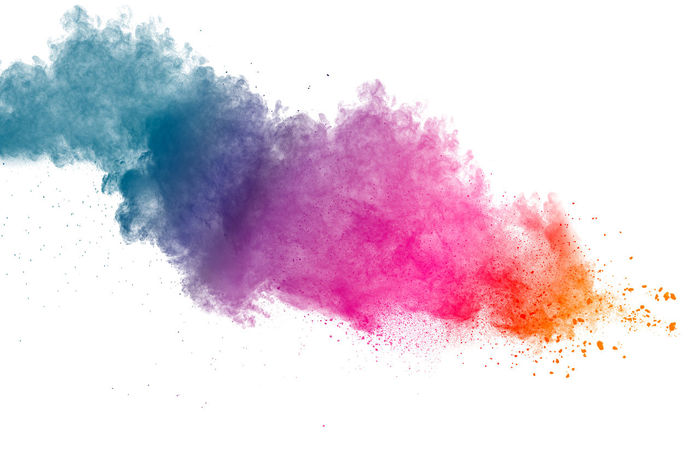 Multicolored powder explosion on white background. Explosion Green Holiday Paint Red Smoke Abstract Art Backdrop Blue Brigth Burst Clouds Color Colour Dust Holi Launched Particles Power In Nature Smog Splash Splattered Webdesign Yellow