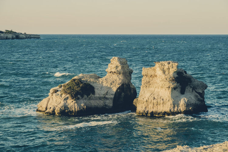 Two Sisters - Melendugno . Lecce - Italy Beach Beachphotography Beauty In Nature Coast Day Horizon Over Water Italy Nature No People Outdoors Rocks Rocks And Water Salento Salento Puglia Scenics Sea Sea And Sky Sea View Sky Tranquil Scene Tranquility Tranquility Water Waves, Ocean, Nature
