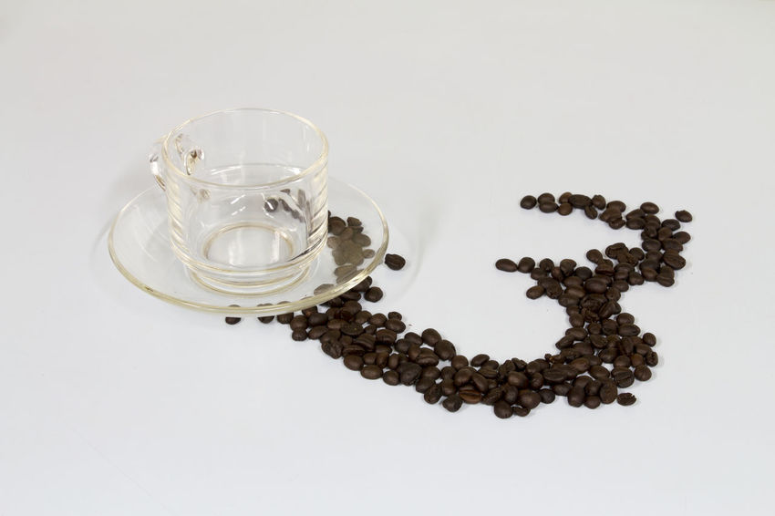 Coffe Beans Coffe Cup Coffee Cup Glass Still Life Studio Shot White Background