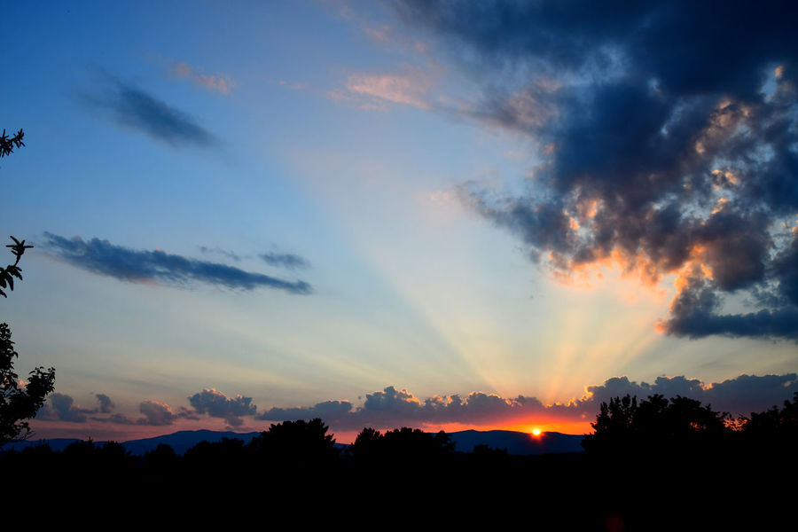 Sunset over the mountains Copy Space Mountain View Peace Shenandoah Valley Beauty In Nature Cloud - Sky Clouds And Sky Day Dramatic Sky Dusk Landscape Mountain Range Mountains Nature No People Outdoors Scenics Silhouette Sky Summer Sunbeams Sunset Tranquil Scene Tranquility Tree