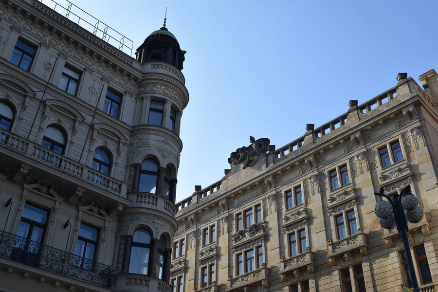 Architecture Buildings Clear Sky Exterior Fasade No People Old Buildings Prague Czech Republic Sky Streetlamp The City Light City Light
