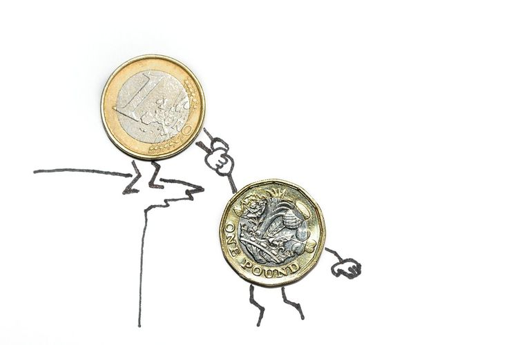 Brexit Brexit Business Close-up Coin Competition Conceptual Currency Currency Euro Coin Euro Vs Pound Finance Gold Gold Colored Humourous Illustration New Pound Coin No People Savings Single Object Studio Shot Success Wealth White Background