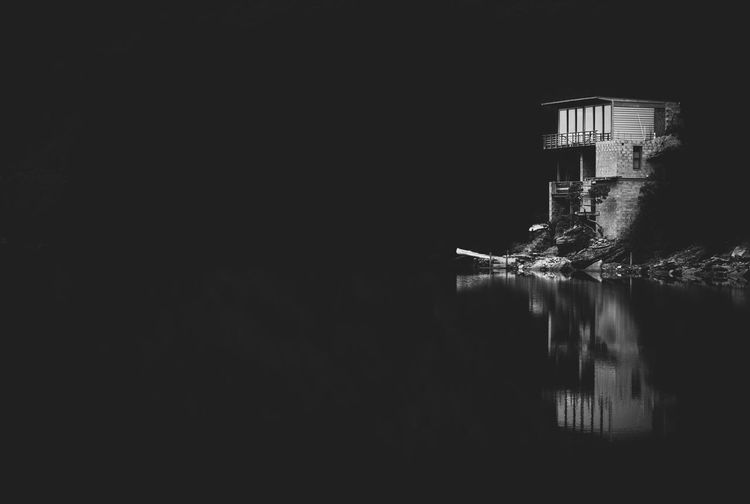Architecture Blackandwhite Building Exterior Built Structure Darkness And Light Day Nature No People Outdoors Reflection Sky Solitude Water