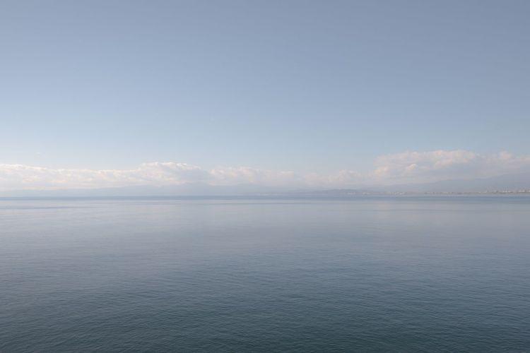 Enoshima, Fujisawa, Kanagawa, Japan Calm Sea Japan Fujisawa Enoshima Sagami Bay Tranquility Sky Beauty In Nature Tranquil Scene Scenics - Nature Water Sea Horizon Over Water Clear Sky Horizon Waterfront Blue
