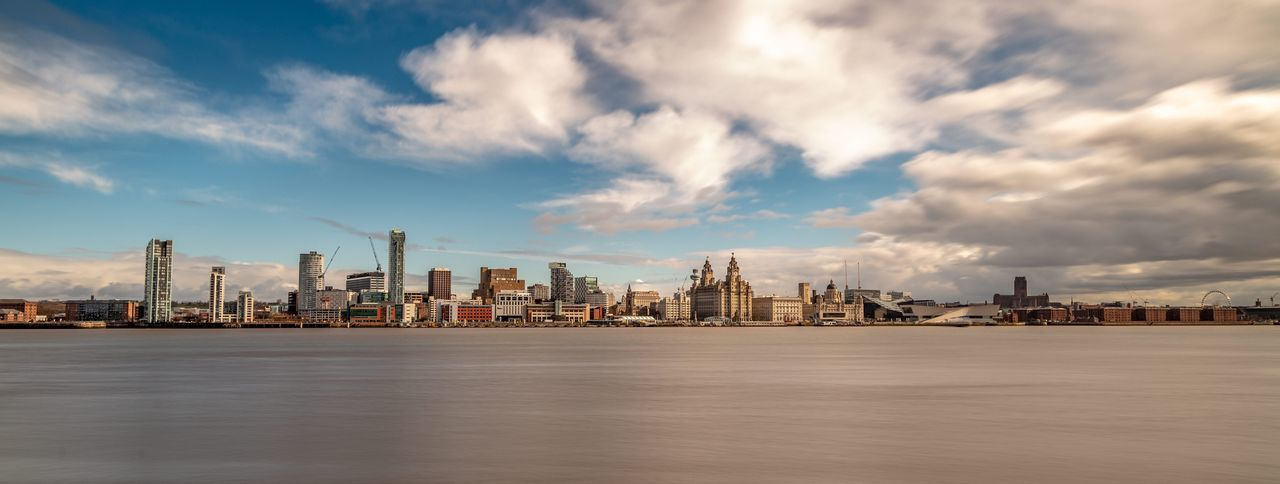 Liverpool River Mersey Waterfront Liverpool Liver Birds Architecture Built Structure Sky Building Exterior Cloud - Sky Water Waterfront City Urban Skyline Sea Landscape Cityscape