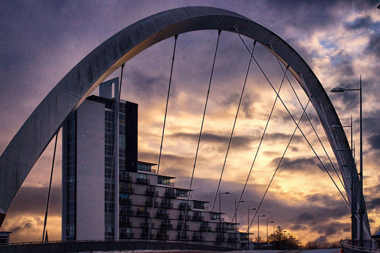 Glasgow  Squinty Bridge Sunset Silhouettes Architecture Bridge - Man Made Structure Building Exterior Built Structure City Cloud - Sky Clyde Arc Day Low Angle View Modern Nature No People Outdoors Sky Skyscraper Sun Set Sunset