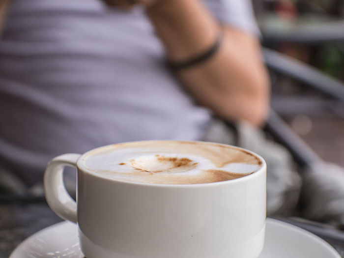 Cappuccino Close-up Coffee - Drink Coffee Cup Day Drink Focus On Foreground Food And Drink Freshness Human Hand Indoors  Men One Person People Real People Refreshment Table