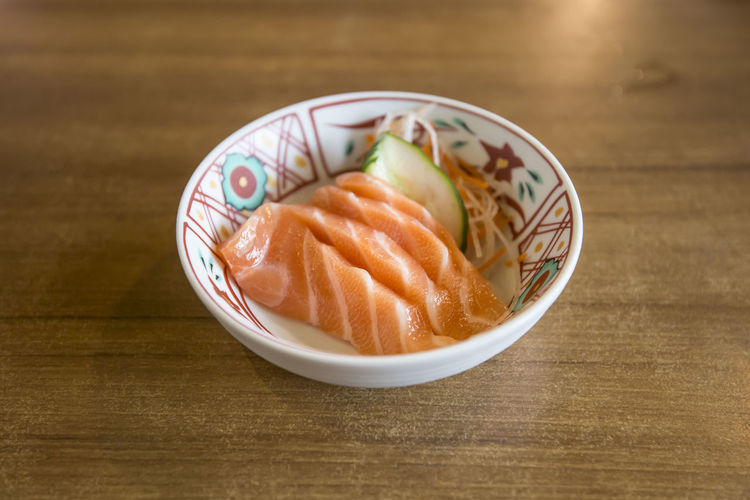 salmon sashimi Salmon Sashimi Food Food And Drink Table Freshness Ready-to-eat Indoors  Asian Food Japanese Food Wood - Material Still Life Bowl Close-up Healthy Eating No People Plate Wellbeing Seafood Serving Size High Angle View Sashimi  Salmon