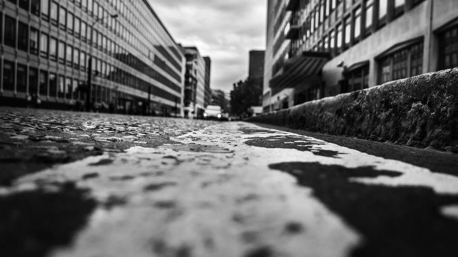 Black & White City Cityscape EyeEm EyeEm Best Shots EyeEm Selects EyeEmBestPics London Architecture Black And White Photography Blackandwhite Building Built Structure City Cloud - Sky Day Footpath No People Outdoors Selective Focus Sky Street Surface Level