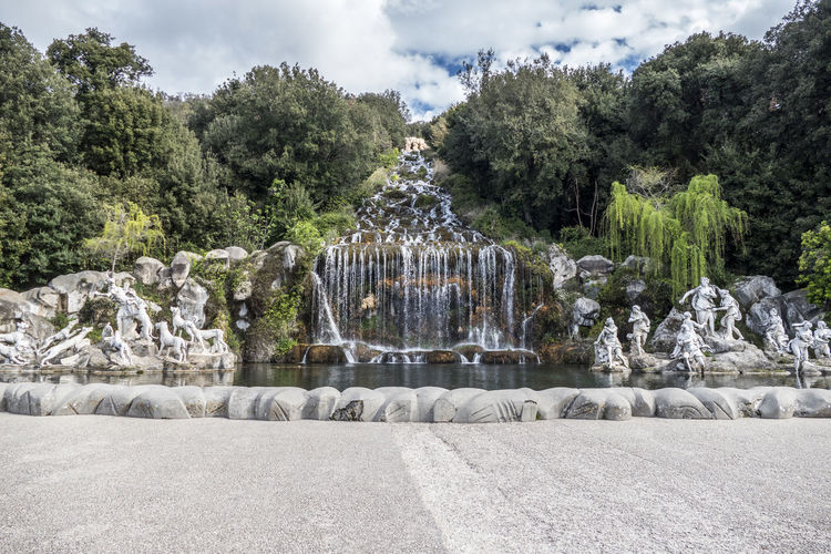 Diana and actaeon fountain and the waterfall at the reggia of caserta