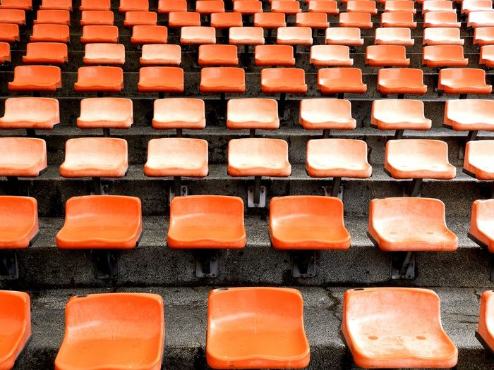 Arrangements Seats In Order Backgrounds Full Frame High Angle View Orange Color Pattern Close-up