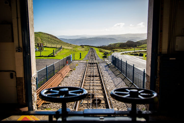 Drivers view down the track of the Great Orme tramway Sky Rail Transportation Mountain Nature No People Day Railroad Track Built Structure Transportation Architecture Track Train Public Transportation Window Train - Vehicle Landscape Scenics - Nature Outdoors Sunlight Great Orme Tramway Great Orme
