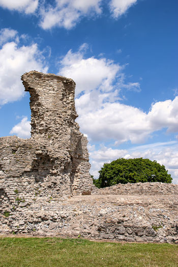 Low angle view of old ruin building