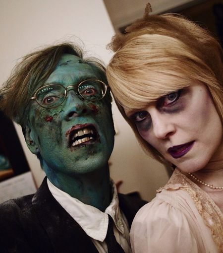 Vampire Couple Zombie Halloween Horrors Halloween Witchy Club Night Clubbing Costume Creepy I did my own makeup. Original Night of the Living Dead!