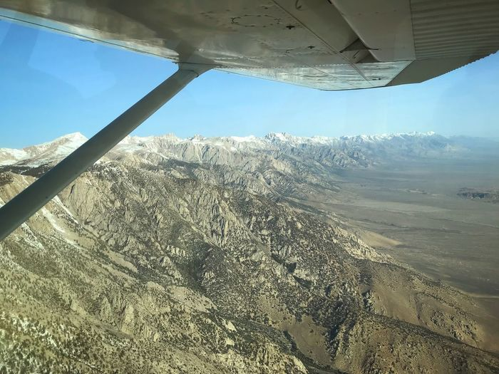 The Eastern Sierra from the air...so cool. Fastest way to view the top of Mt. Whitney...with much less work. Airplane Wing Airplane Nature Sky Day Land No People Landscape Scenics - Nature