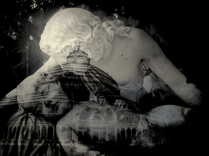 In camera double exposure, Sefton Park, Liverpool, England Double Exposure Liverpool Liverpool, England PalmHouse Statue Black Background Doubleexposure Indoors  Mother And Child Night People Real People Rear View Sefton Park Statues Togetherness Women