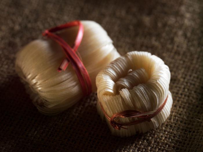 Close-up of cellophane noodles on burlap