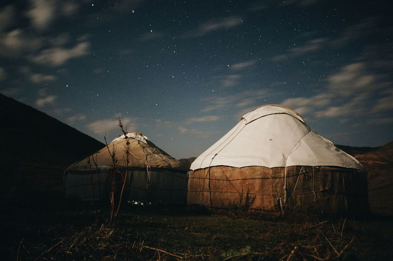 Home for the night Mountain Astronomy Outdoors Star Field Cloud - Sky Remote Countryside No People Space Sky Cloud Kyrgyzstan NOMAD Son-kol Son Kol Lake Son Kol Camping Yurt Overnight Success An Eye For Travel