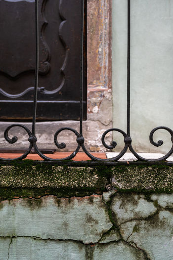 Close-up of metal gate against building