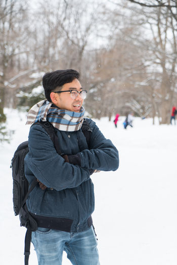 Me ASIA Asian  Japan Japan Photography Japanese  Man Clothing Cold Temperature Day Focus On Foreground Leisure Activity Lifestyles Nature One Person Outdoors Portrait Real People Sapporo Scarf Snow Snowing Standing Three Quarter Length Tree Warm Clothing White Color Winter Young Adult Young Men