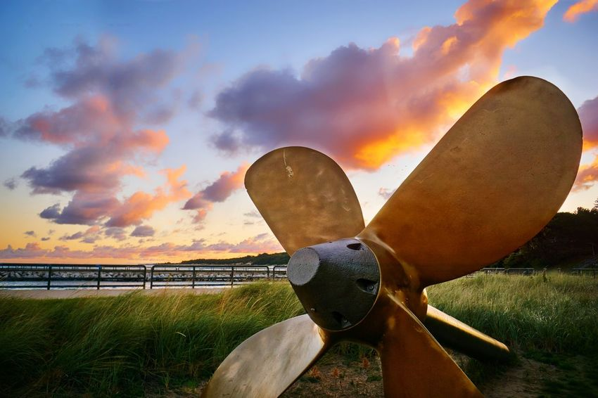 Charlevox, Michigan Outdoors Travel Destinations Water Beach Dramatic Sky Propeller Blades Freighter Memorial Tribute History Shipping Industry