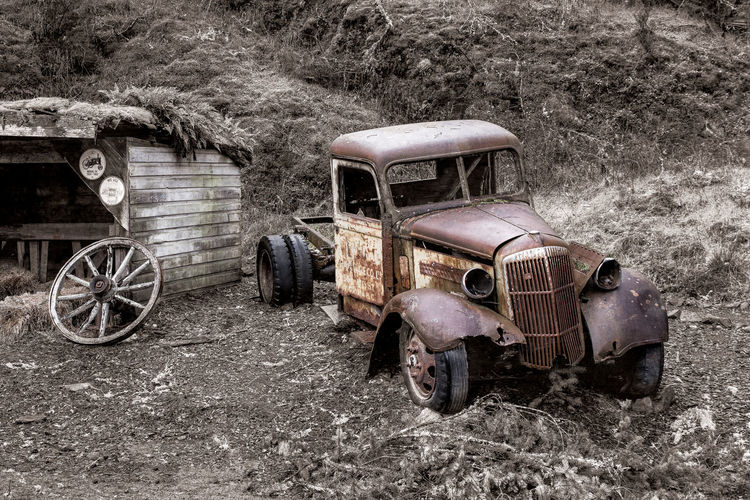 Old Truck at the 17 Mile Pub Mode Of Transportation Abandoned Transportation Land Vehicle Old Obsolete Damaged Day Run-down Metal Retro Styled Rusty Decline Land Stationary Deterioration No People Motor Vehicle Car Outdoors Ruined Wheel