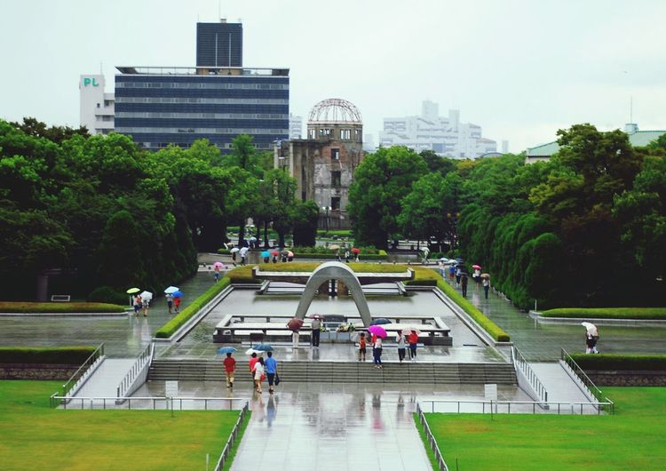 High Angle View Of People Walking At Hiroshima Peace Memorial