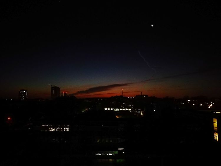 Night Moon Astronomy City No People Outdoors Sky Star - Space Nature Illuminated Beauty In Nature Airplane Vienna Austria Favoriten Cloud - Sky City Landscape Silhouette Dramatic Sky