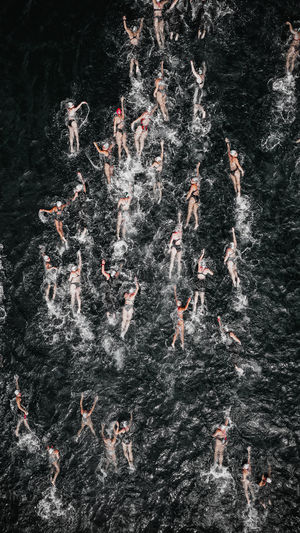 High angle view of people swimming in water