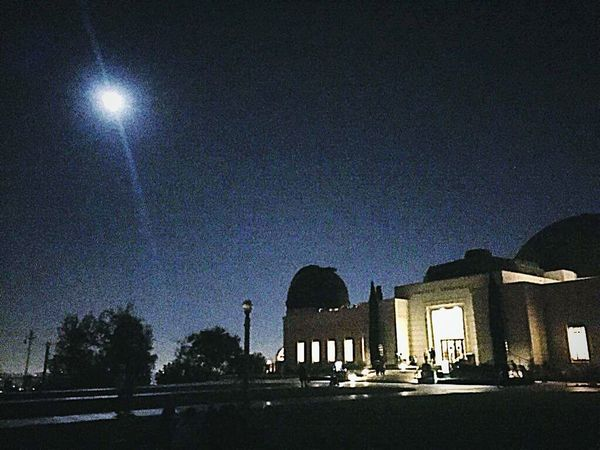 Griffith Observatory Bright Moon Night Sky