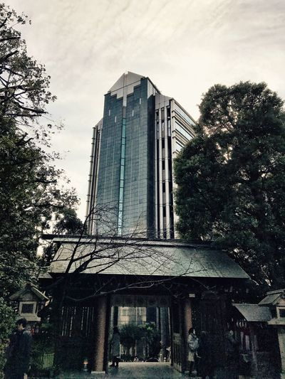 Architecture Built Structure Building Exterior Tree City Outdoors Sky Skyscraper Day Modern No People Modern And Traditional IPhoneography Shotoniphone7 EyeEmJapan Japan Photography Streetphotography Japanese Culture Tokyo Architecture Shrine Of Japan Shrines & Temples Place Of Worship