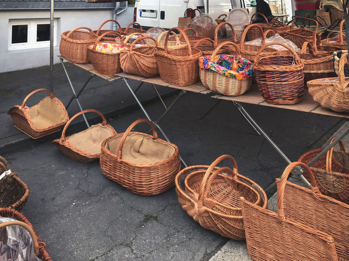 Wicker baskets at market for sale