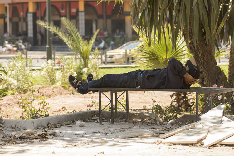 Day Full Length Man Marrakech Men Morroco Nap Nature One Person Outdoors People Real People Sleep Sleeping Tree