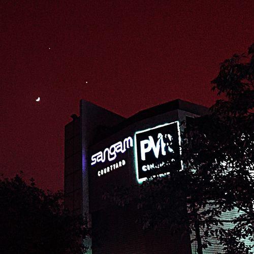 Moon stars and the cinema. Movies Sangam Cinema PVR Sangam Night Sky Iphonography Tadaa Community Eyeforphotography