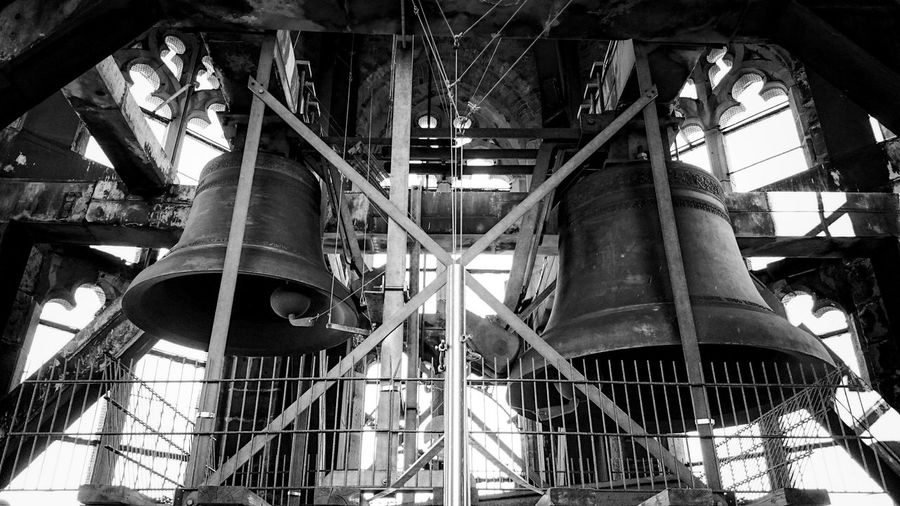 Black And White Photography, Church Bells Mechanism in Monochrome,