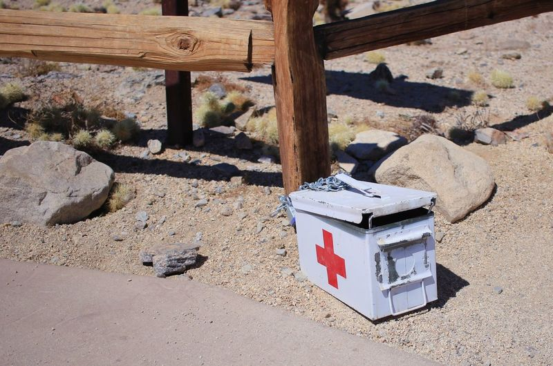 Iwantthatcamera Medical Equipment Red Cross Day Sunlight Nature Land No People Outdoors Container Safety