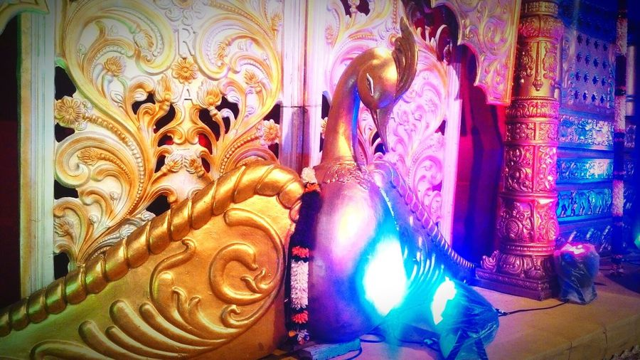 Golden Bird @ Navrati Fastival. Golden Bird Close-up Golden Colour Of Lights Street Photography Navratri2016 Indian Festival Creativity Freshness JRPphotography @ Koppal Karnataka India Design Koppal Millennial Pink