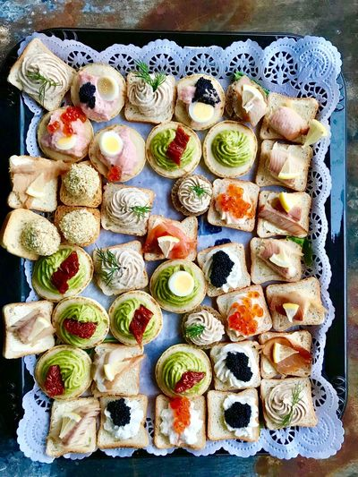 Party bites Foodporn Bites Party Seafood Food And Drink Food Freshness Ready-to-eat Indoors  High Angle View Sushi SLICE No People Close-up Day Healthy Eating