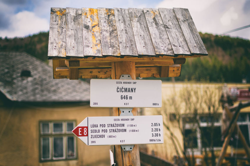 Photo of Cicmany trip vol.1 Nature around village is beautiful. In winter you can try ski/snowboarding and in summer you can try hiking in the woods. Also you can try paragliding weee 🌪 Architecture Close-up Communication Day Exploring Focus On Foreground Nature No People Outdoors Road Sign Sign Sky Text Travel Traveling Trip Window Wood - Material čičmany
